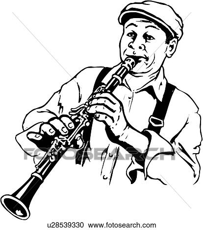 clipart of illustration lineart clarinet player music musical rh fotosearch com