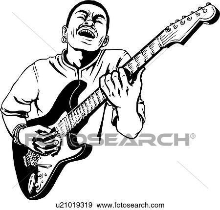 Klipart Ilustrace Lineart Kytara Hrac Kytarista Hudba