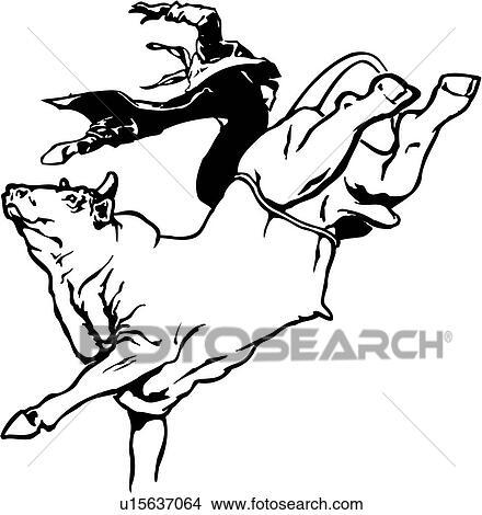 Bull Riding Drawings Clip Art