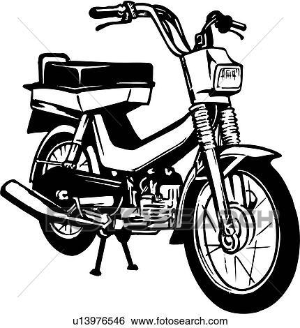 illustration lineart motorbike motor scooter moped