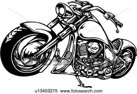 Illustration Lineart Motorcycle Clipart U13453275
