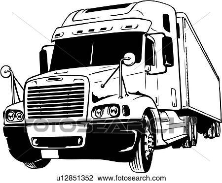 clipart of illustration lineart tractor trailer truck u12851352 rh fotosearch com tractor trailer clipart black and white flatbed tractor trailer clipart