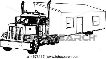 clip art of illustration lineart truck mobile home u14673117 rh fotosearch com mobile home clipart free mobile home pictures clip art