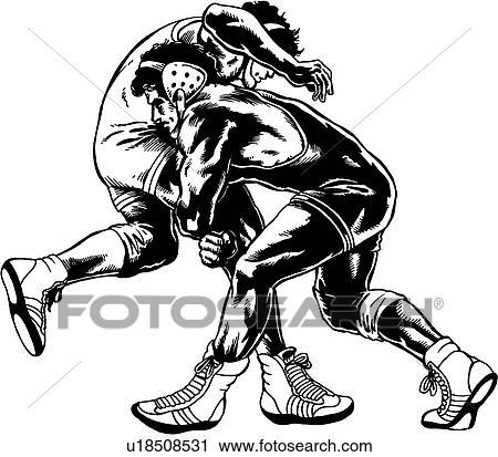 Wrestle Wrestler Wrestlers Wrestling Sport Sports Illustration