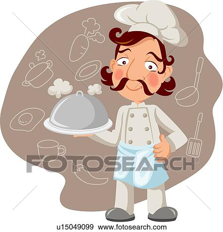 Clip Art Of Cooks Kitchen Restaurant Worker Full