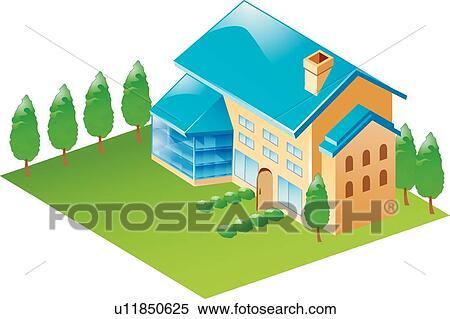 Clipart - maison, icônes, maison, bâtiments, bâtiment ...