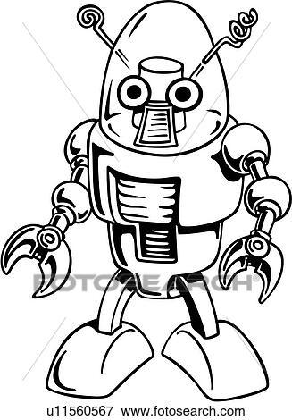 clip art of alien cartoon robot science fiction wacky rh fotosearch com retro science fiction clipart