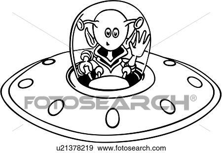 Clip Art Of Alien Cartoon Science Fiction Spaceship Wacky
