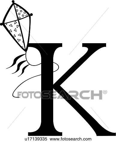 Clipart Of Alphabet Capital Child K Kid Kids Kite Letter