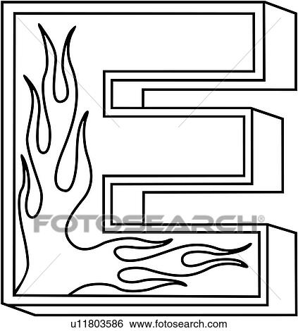clip art of alphabet capital e flaming block hand lettered rh fotosearch com letter a clip art sparkle letter i clipart