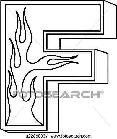 clip art of alphabet capital f flaming block hand lettered rh fotosearch com letter f objects clipart clipart of letter of black and white