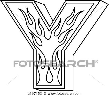 Alphabet Capital Flaming Block Hand Lettered Letter Lettered