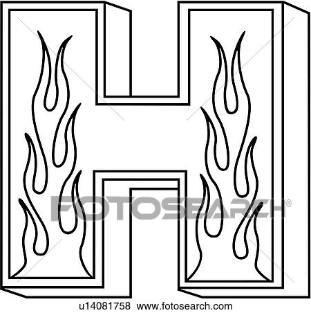 clip art of alphabet capital flaming block h hand lettered rh fotosearch com  decorative letter h clipart