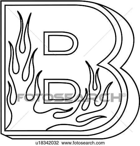 Clipart of , alphabet, b, capital, flaming block, hand lettered ...