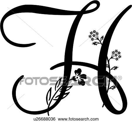 Capital Alphabet H Lettered Monogram Script