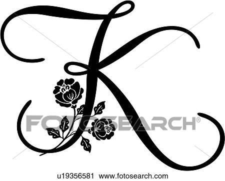 Lettered, Alphabet, Capital, K, Monogram, Script,