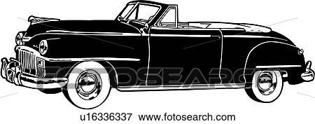 clip art of 1948 automobile car classic convertible de