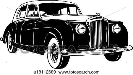 Clip Art Of 1956 Automobile Bentley Car Classic Classic Car