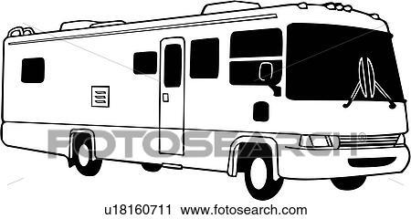 clipart of camper motorhome recreation recreational rv rh fotosearch com tv clip art free tv clipart black and white