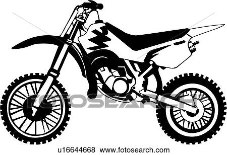 Dirt Bike Clipart Black And White Clip Art -   dirt bike