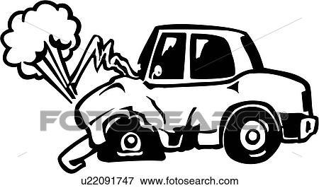 Clipart accident auto automobile voiture dessin anim collision conduire toon naufrage - Coloriage cars accident ...
