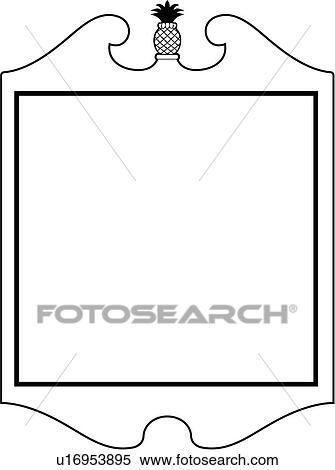 Clipart of , blank, fancy, frame, border, pineapple, shield, sign ...