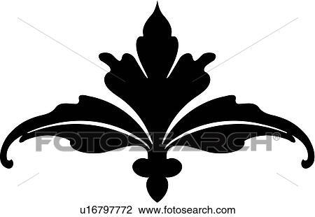 Clipart Fleur clipart of , fleur de lis, french, leave, ornament, u16797772