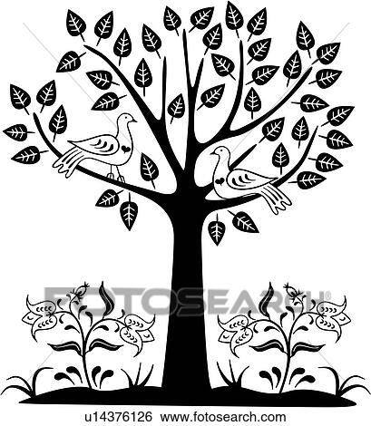, amish, bird, dutch, folk art, holland, netherlands, ornaments,  pennsylvania, tree, tree of life, Clip Art