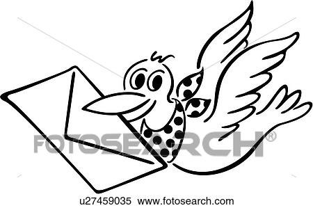 Clipart Of Bird Envelope Letter Mail Cartoons U27459035