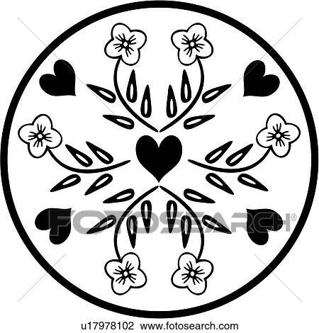 , amish, barn, circle, dutch, folk art, heart, holland, netherlands,  ornaments, pennsylvania, Clipart