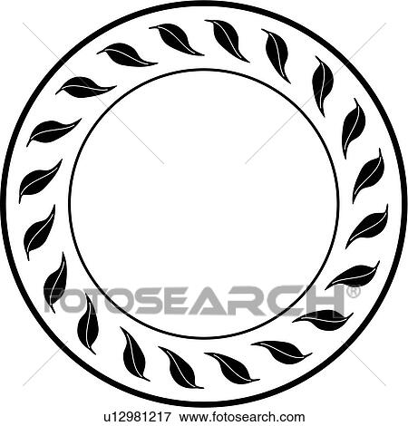 clip art of blank border circle fancy folk art frame leaves