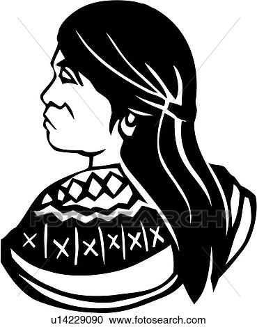 Native Americans Clipart Black And White Clipart of , fa...