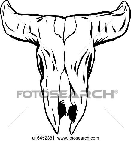 clipart of cow skull desert longhorn skull cartoons u16452381 rh fotosearch com Boho Cow Skull Clip Art cow skull svg clipart