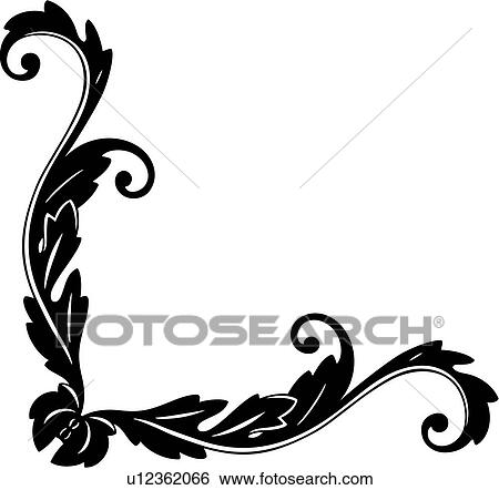 , antique, border, corner, flourish, flourishes, ornaments ...