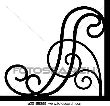 clipart of border bracket corner iron scroll wrought