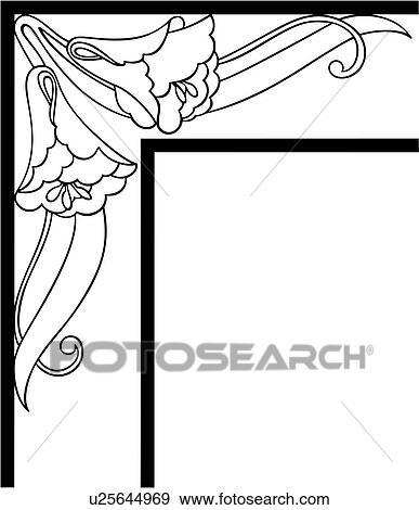 clip art of border corner fancy floral frame morning glory rh fotosearch com corner clipart black and white corner clipart images