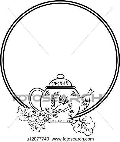 Clip Art of , border, cameo, circle, fancy, frame, panels, teapot ...