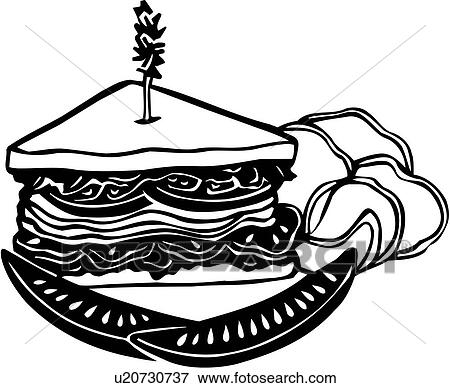 clip art of deli food restaurant sandwich u20730737 search rh fotosearch com sandwich clip art borders sandwich clipart without a background