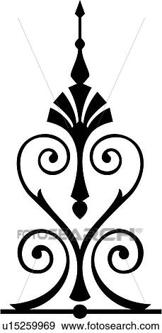 clip art of french iron ornaments scroll wrought ironwork rh fotosearch com Elegant Lines Clip Art Black Frame Clip Art