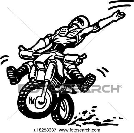 Kleurplaat Motorcross Action Bike Cartoon Cycling Dirt Dirt Bike