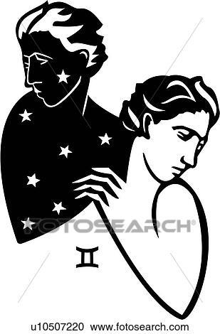 Clipart Of Gemini Myth Mythical Mythological Symbol Twin
