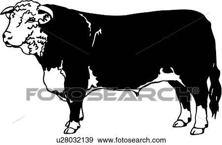 Clip Art Of Animal Breed Cattle Cow Hereford