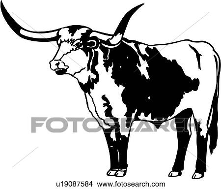clipart of bull cow longhorn animal u19087584 search clip rh fotosearch com longhorn clipart texas longhorn clipart