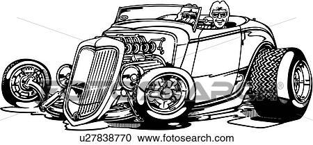 Clipart - auto, auto, karikatur, cabrio, heißer rod ...