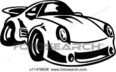 clip art of auto automobile car drive fast speed sport toon