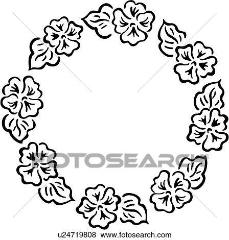 clip art of border circle fancy floral folk art frame simple White Flower Border Clip Art clip art border circle fancy floral folk art frame