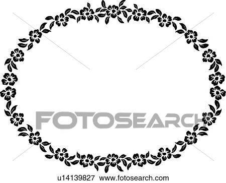clip art of border fancy floral folk art frame oval rh fotosearch com fancy clipart borders funny clip art free