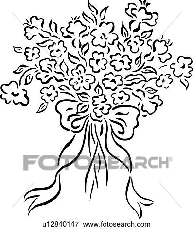 Clip Art Of Bouquet Bridal Flower French Wedding Simple
