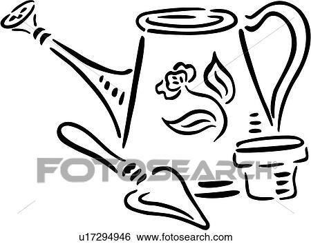 Clip Art Of Gardening Trade Watering Can U17294946