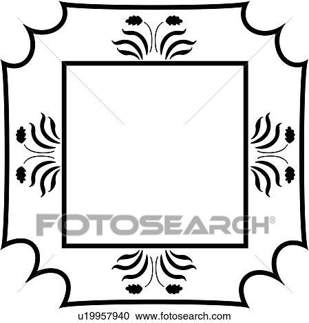 clipart of amish blank border fancy folk art frame sign